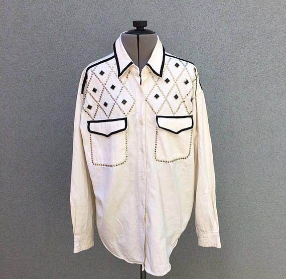 VENTA Vintage Denim blanco tachonado botón encima de los 90