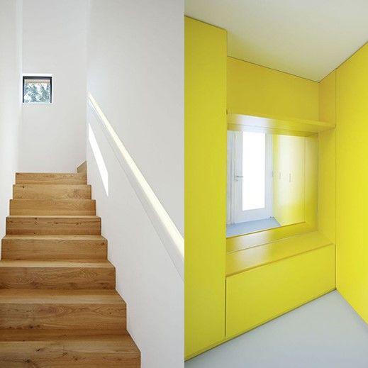 Drevené schody v kontraste so žltou