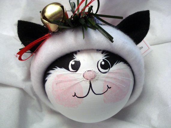Black White Cat Christmas Ornament Tree Ball Hand Painted ...