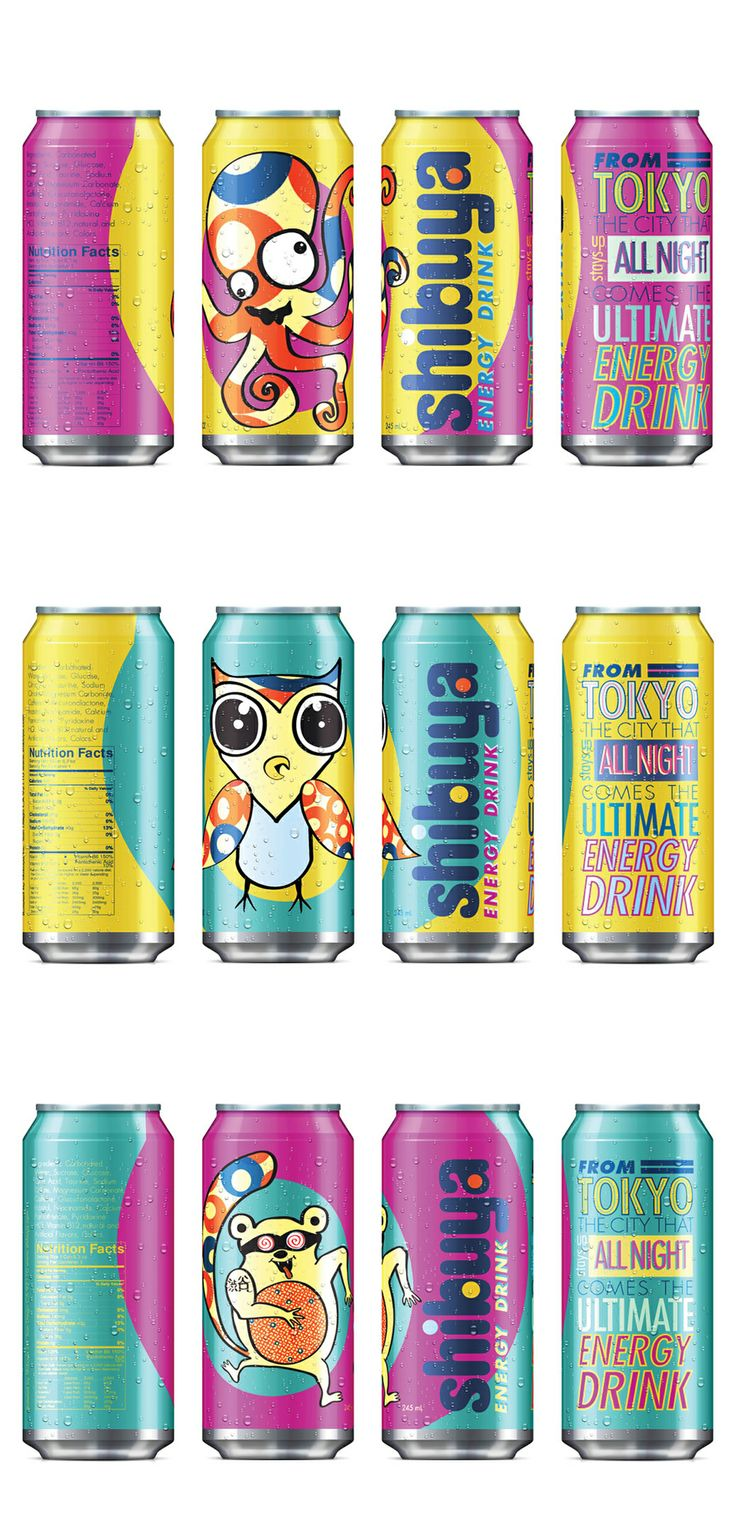 Example of Asian trend: Adult-targeted product uses kids-appealing graphics. Shibuya energy drink.