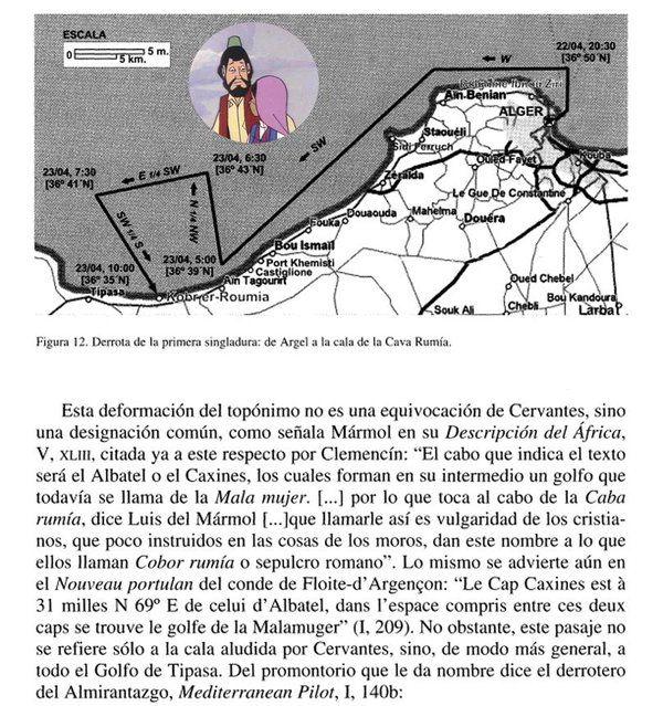 la navegación descrita en #HistoriadelCautivo @elquijote1605 Están a 8 Km E-SE de Tipasa, a 68 Km de Argel