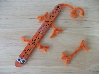Preschool Crafts for Kids*: Popsicle Stick Lizard Craft