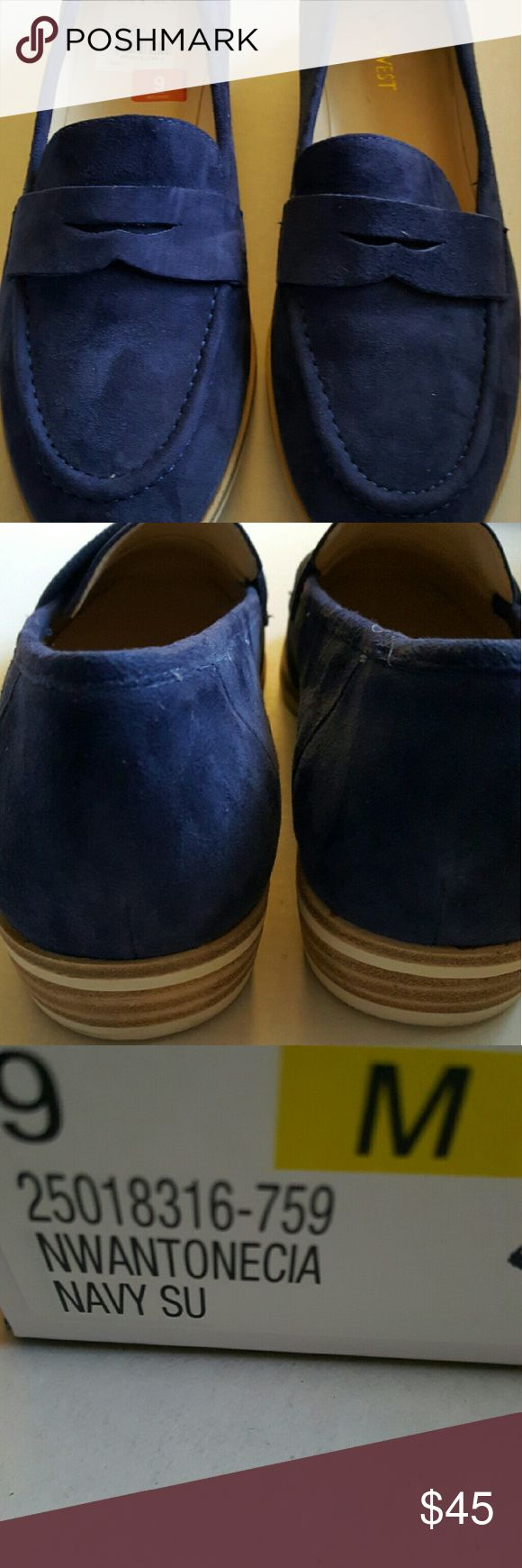 Nine West Blue Suede Shoe Excellent Condition! Blue Suede loafer with White sole. Worn once. Nine West Shoes Flats & Loafers