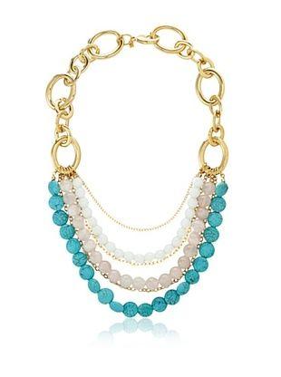 69% OFF Cristina V. Turquoise Rose Quartz Statement Necklace