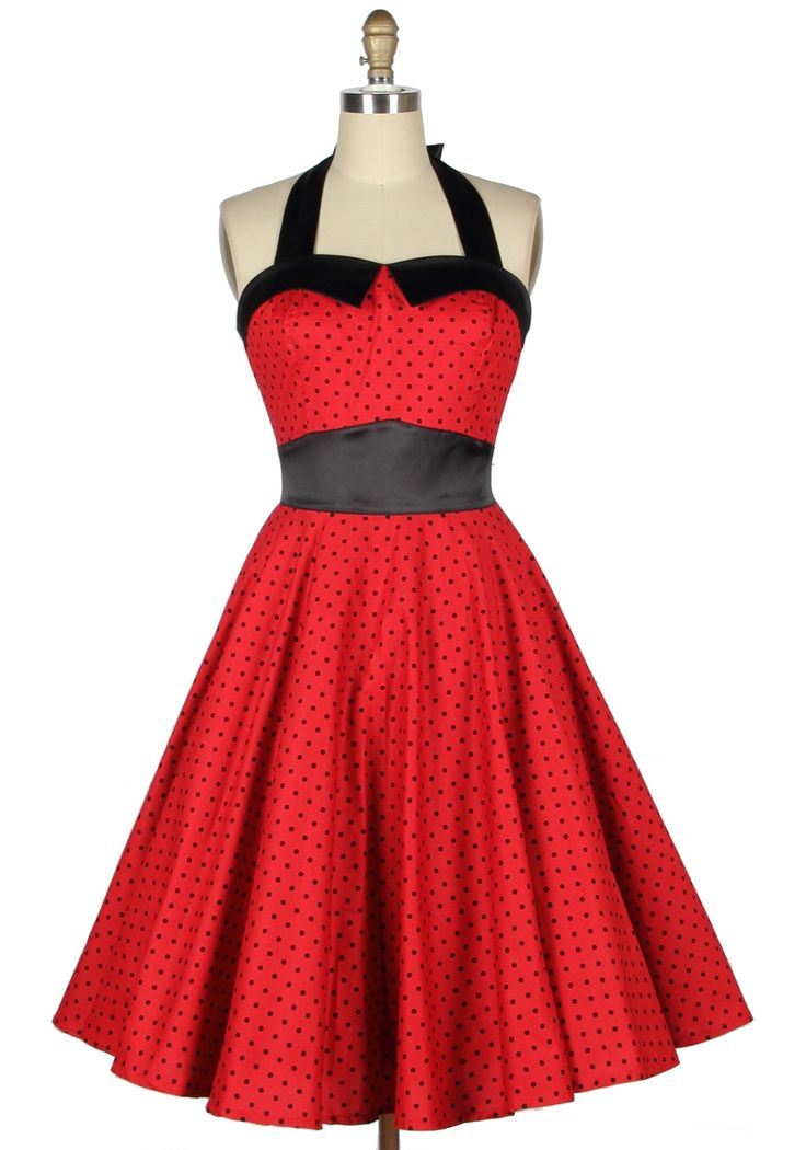 50s pin up polka dots red halter housewife dress #1950s fashion
