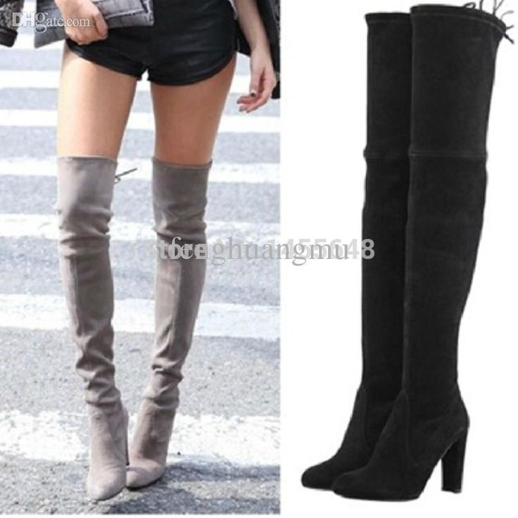 Wholesale-2015 Suede Leather Thigh High Boots Chunky High Heels Black Women Stretch Over the Knee Boots Autumn Winter Famous Brand Shoes Online with $149.09/Pair on Fenghuangmu's Store | DHgate.com