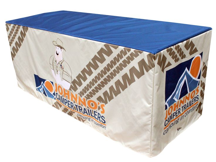 What vibe are you giving off for your business? Johnno's Camper Trailers has a happy, upbeat vibe with their creative design and character mascot on this sensational printed table cover by Star Outdoor. Get one for your business today at www.staroutdoor.com.au