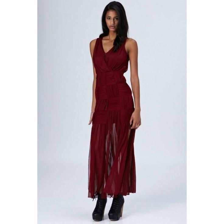 Vestido Trenzado Color Burdeo   Exclusivo Desde Londres Precio   29.990