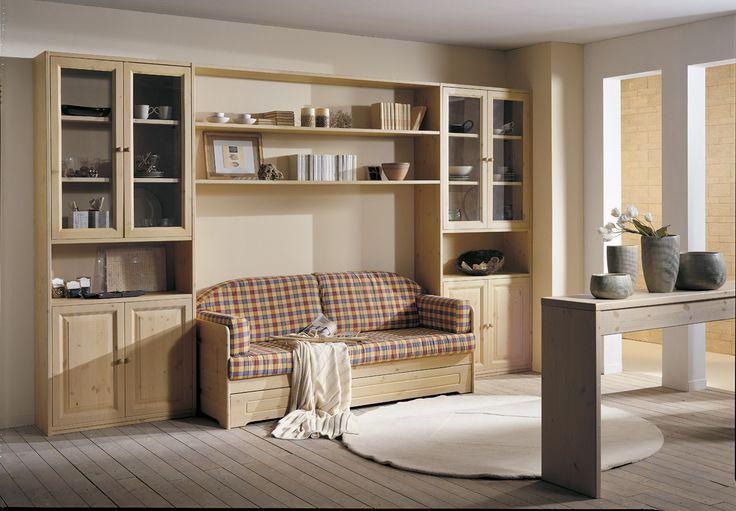 Parete attrezzata componibile in legno massello con divano - Divano letto pino ...