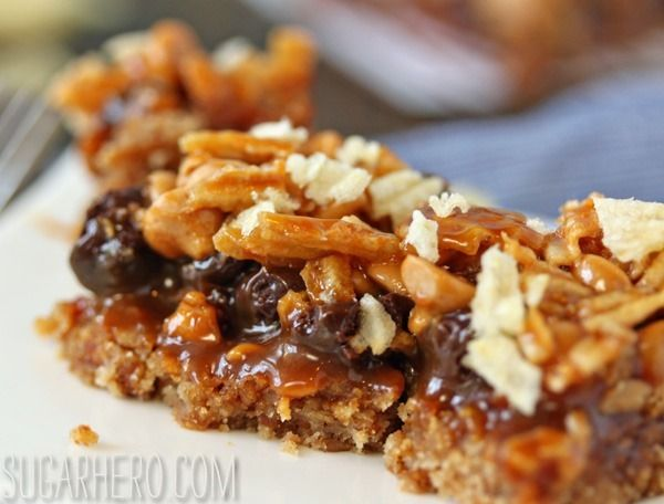 Dude Food Magic Bars - with bacon, pretzels, potato chips, dark chocolate, and salted caramel!  :-)