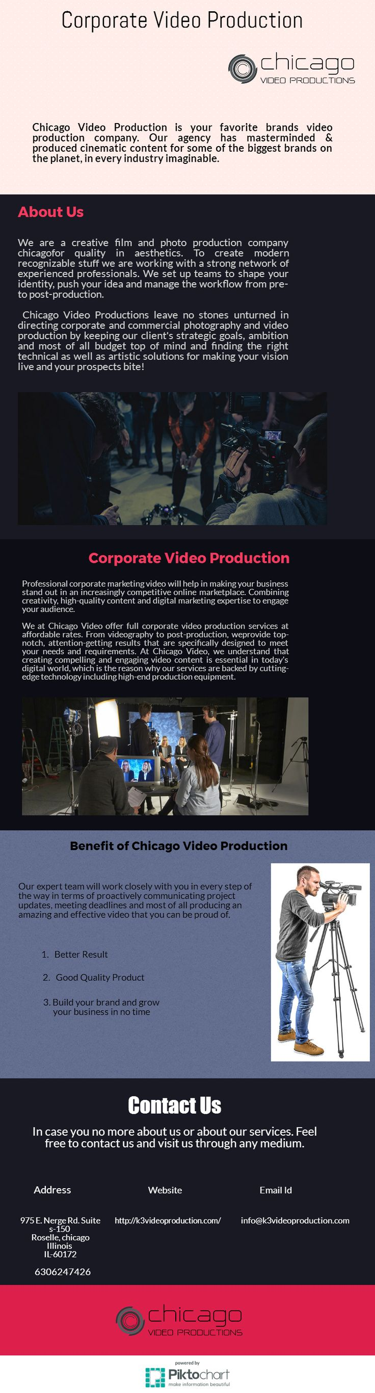 Chicago Video Productions specializes in capturing powerful corporate headshots, Chicago Corporate Photography & group photos. which ultimately define your business. Hurry up to hire us. Feel free to contact us at    +1 630-624-7426