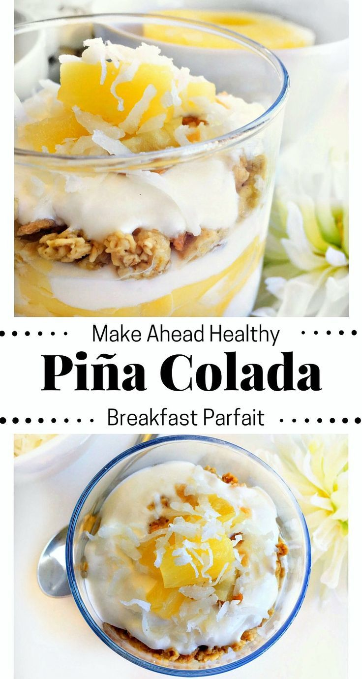 Make Ahead Healthy Pina Colada Breakfast Parfait #SundaySupper