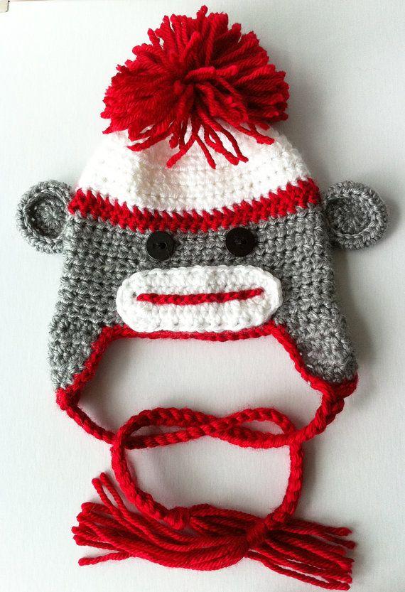 Baby Girl Hat Sock Monkey Hat Toddler Sock Monkey Hat by inamood