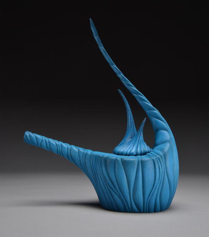 Kristin LeVier, 2015. Wave Teapot. Carved wood. www.kristinlevier.com