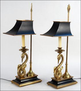 Pair Of Chapman Swan Form Brass Table Lamps It Is The