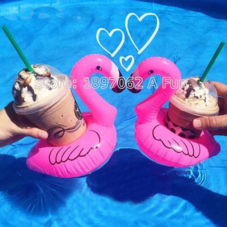 2016 New 5Pcs/Lot Mini Cute Pink Flamingo Floating Inflatable Drink Can Holder Pool Bath Toy Pool Swim Ring Water Fun Pool Toys