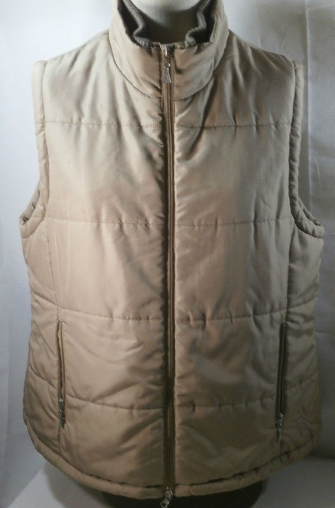 Zip Up Puffer Vest Jacket Pockets Leslie Fay Sport Almond Beige Women's Large  #LeslieFay #Puffer