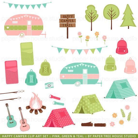 Clip Art Set - Happy Camper - Tent, Backpack, Camper Trailer, Banner, Guitar, Trees, Flowers - 42 Files - JPG and PNG Format - ID252