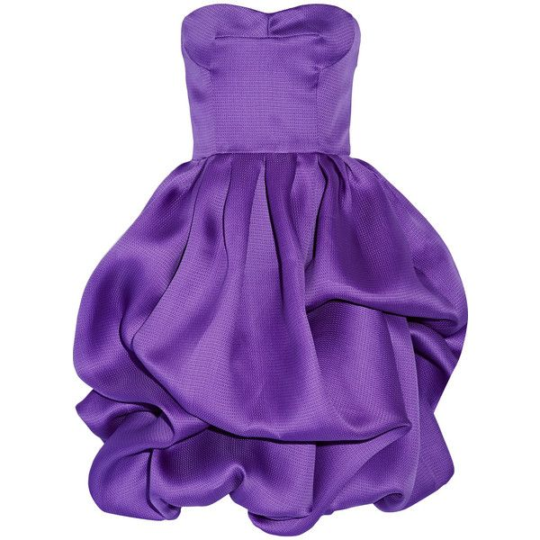 Oscar de la Renta Ruffled silk dress found on Polyvore featuring dresses, purple, loose fitted dresses, ruffle dress, purple dress, purple silk dress and woven dress