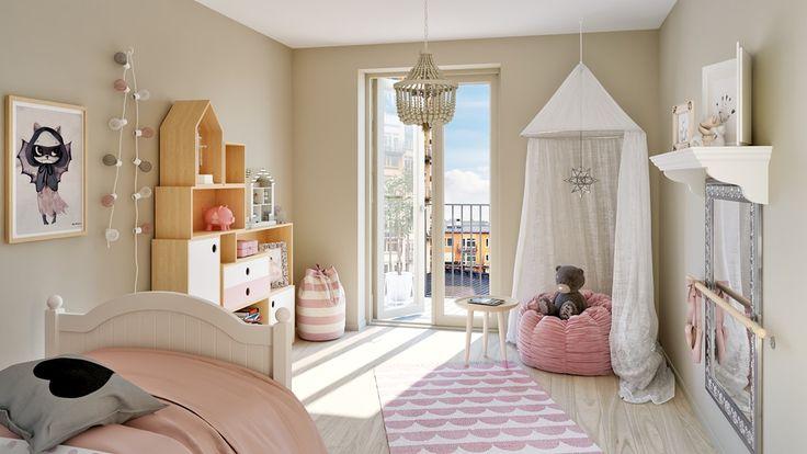 Vackert sovrum med pardörrar