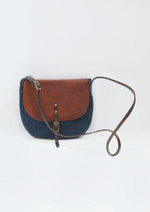 Indigo leather bag.