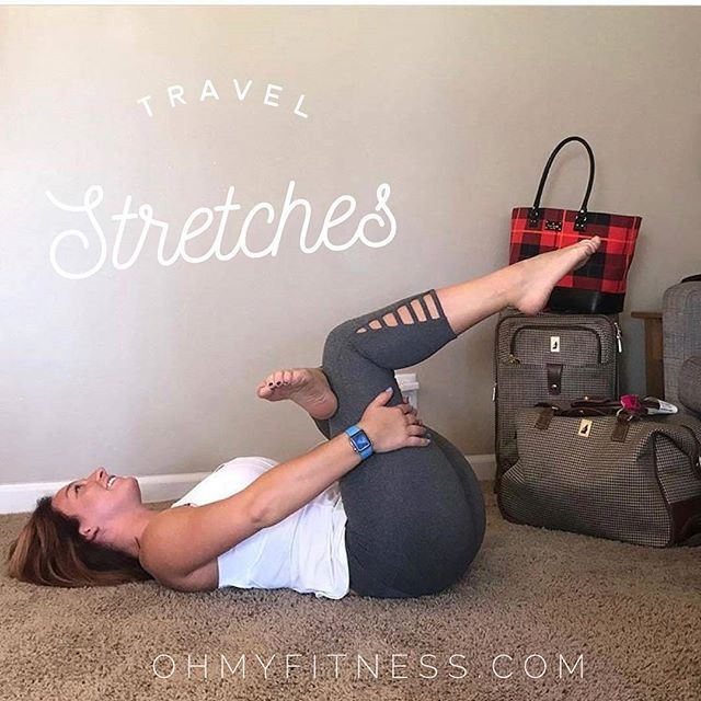 For those of you traveling this week, here is a super helpful stretch Laura posted over on @ohmyfitnesscoaching. While I wouldn't recommend doing this in the airport, it's perfect for when you get to your destination. . . ---------------- .  If you're like me and are spending a lotttttt of time in planes, trains, or automobiles this week--this upcoming series of stretches is for you!  This first one is one of my favorites for releasing some of the biggest muscles in the body: the glutes…
