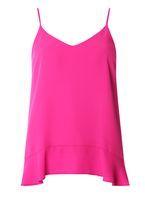 Womens Pink Ruffle Hem Cami Top- Pink