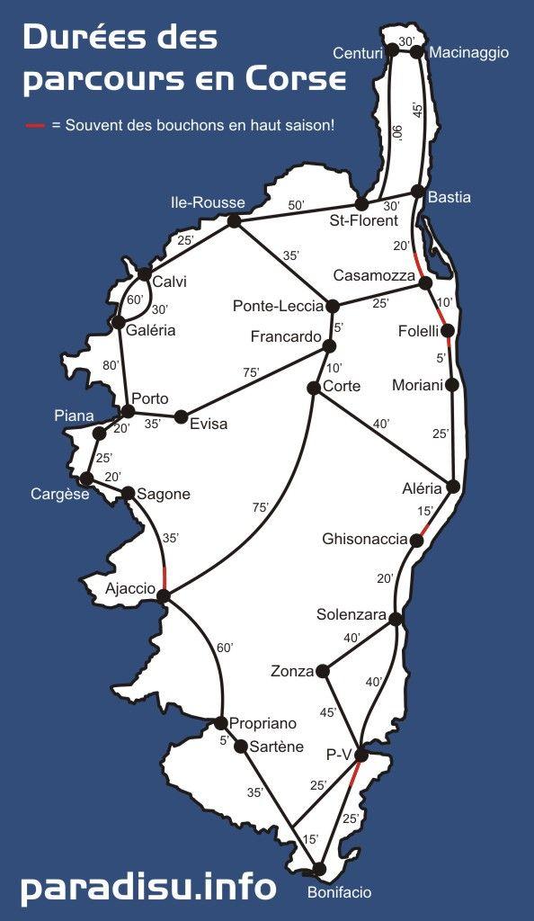 carte de la Corse Cette carte de la Corse donne une grossière orientation sur la durée du parcours à attendre en Corse avec une voiture en tempo normal. Les haltes fotographiques ne sont pas comptées!  Qui doit prende un ferry, devrait absolument planifier sufisamment de réserves. Dans les troncons marqués en rouge, il arrive en haute saison bien des embouteillages!