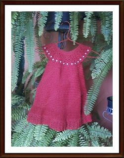 Rubia Artes e Artesanatos: Vestidinho  e uma Faixa de cabelo de Crochê com a ...