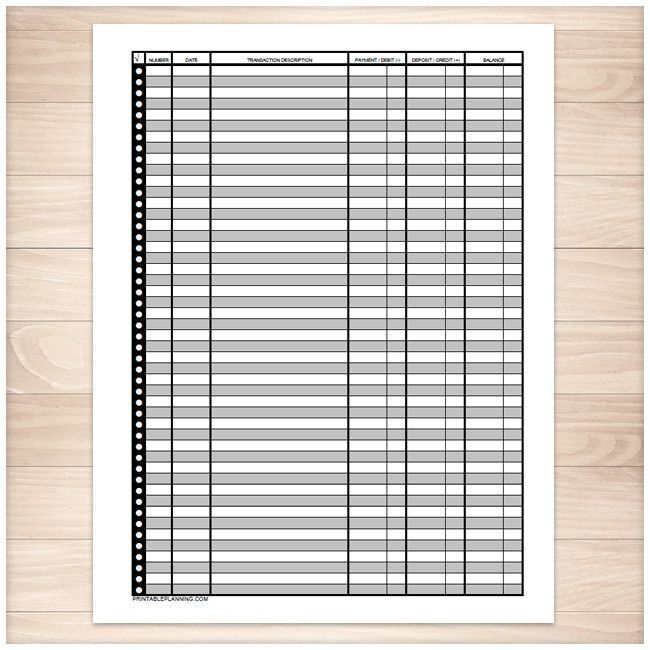 Printable Financial Transaction Register FULL PAGE. Keep track of your banking in your own 3-ring binders instead of that little book the bank provides.