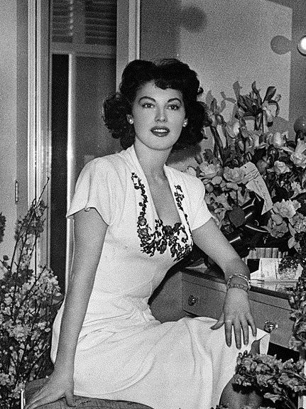 Ava Gardner on the set of Singapore, 1947