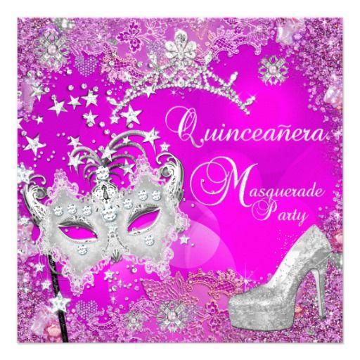Masquerade Quinceanera 15th Party Pink Tiara Shoe Custom Invitation
