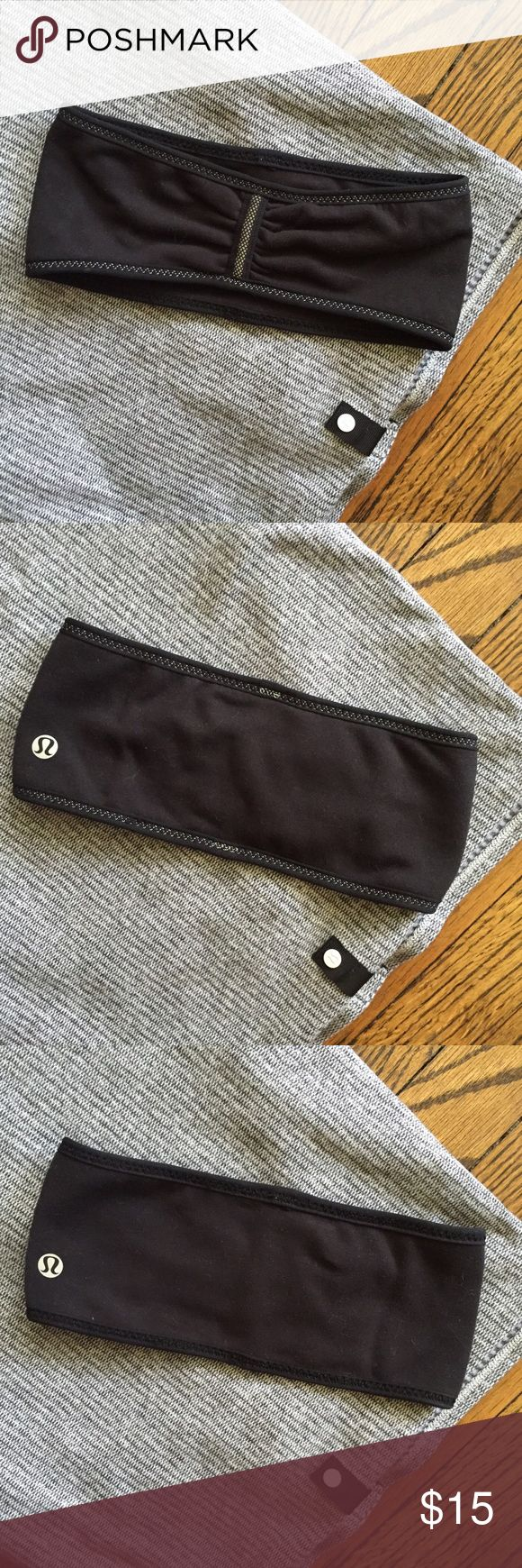 Lululemon ear warmer head band Luon black head band by Lululemon. So cute! It's reversible. Perfect for your outdoor workout or to and from. In excellent condition. No trades. Don't forget to bundle! Great stocking stuffer 😋 lululemon athletica Accessories Hair Accessories
