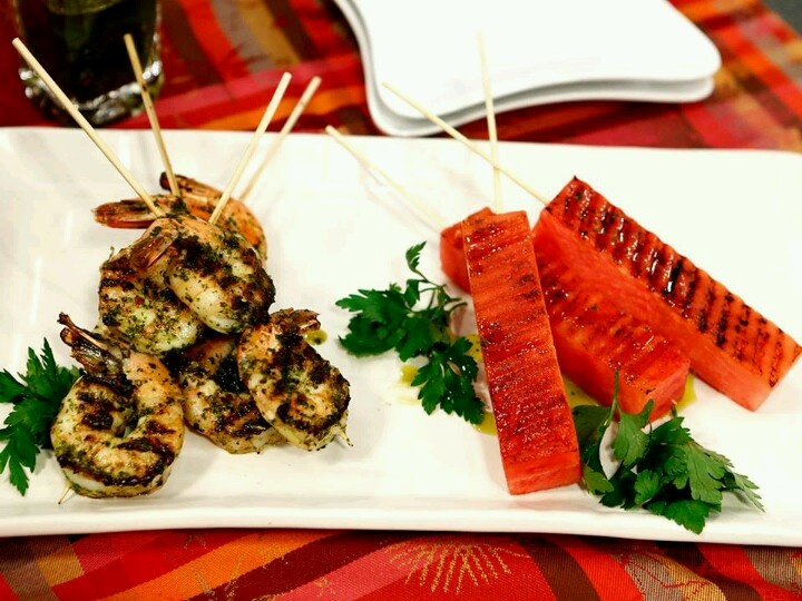spicy grilled shrimp and watermelon skewer