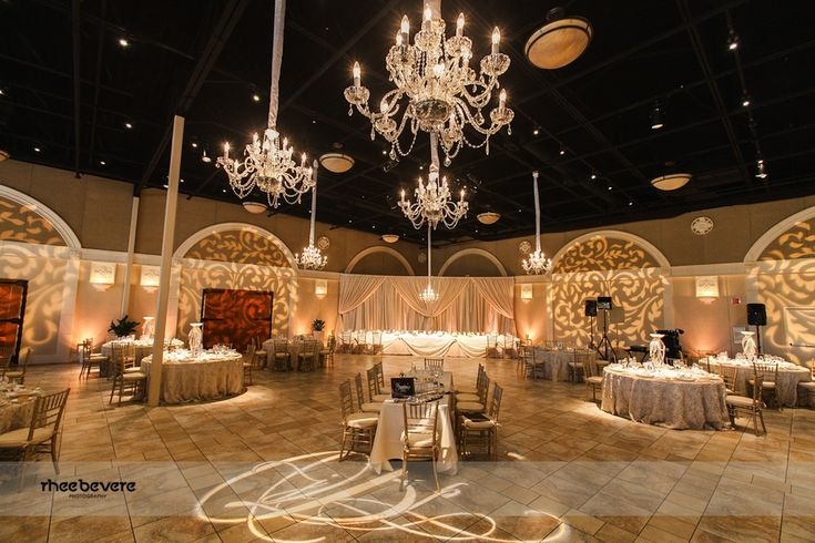 12 Light Chandeliers, GOBO Washes, and a Custom Monogram GOBO at Casa Real at the Ruby Hill Winery