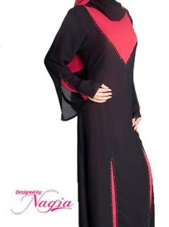 Red Design Pullover Abaya Style Notes: Gorgeous Pullover (Front Closed) Embroidered AbayaMade with Comfortable and quality Chiffon FabricIt is contrast color double layers Abaya with wide bell shape sleevesBeautiful stones are placed on Neck, Sleevs and ShawlA unique stylish abaya which would be an excellent addition to your abaya . Care Instruction: Gentle Wash URL: http://www.lvibes.com/index.php?route=product/search&search=0000276