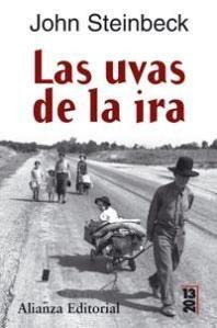 """Las uvas de la ira, John Steinbeck  """"Un libro duro que refleja las penurias que tuvieron que sufrir los campesinos de Oklahoma cuando por causa del capitalismo y las malas cosechas se ven obligados por los bancos a abandonar sus tierras y emigrar en masa hacia california en busca de trabajo y de esperanza."""""""