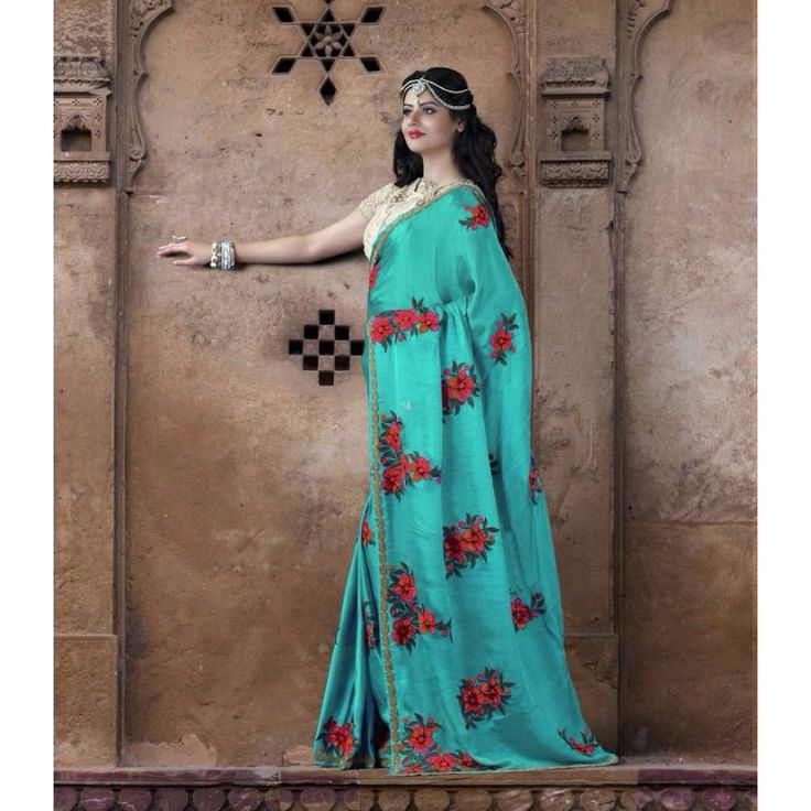 Turquoise Silk Designer #Saree With Blouse- $138.41
