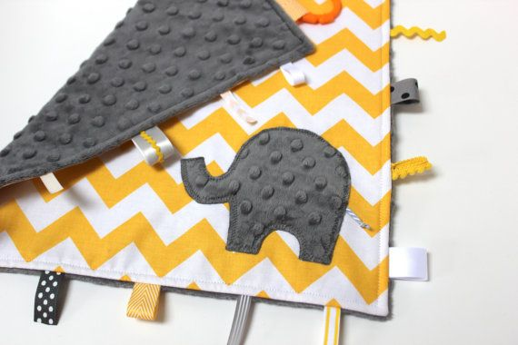 Yellow Gray chevron baby blanket - elephant or initial lovey travel minky - nursery shower gift nursery monogram intial elephant via Etsy