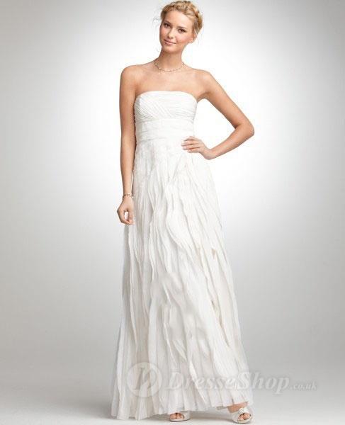 Sheath/Column Strapless Chiffon Floor-length Wedding Dress