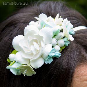 """Ободок для волос с цветами - Мятный ― Дизайн-студия """"Tanya Flower"""""""