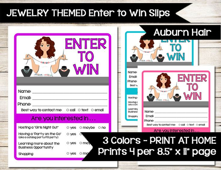 JEWELRY | Enter to Win | Door Prize Form | Drawing Slip | Raffle Ticket | Guest Survey | Contest Sheet | Prize Slips | Auburn Red Hair by BizzyBeeCreative on Etsy