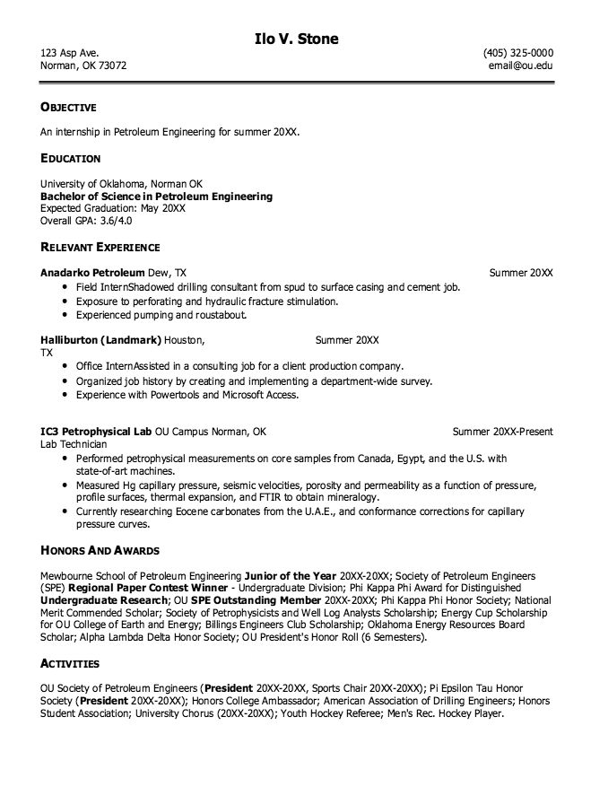 sample resume for petroleum engineering