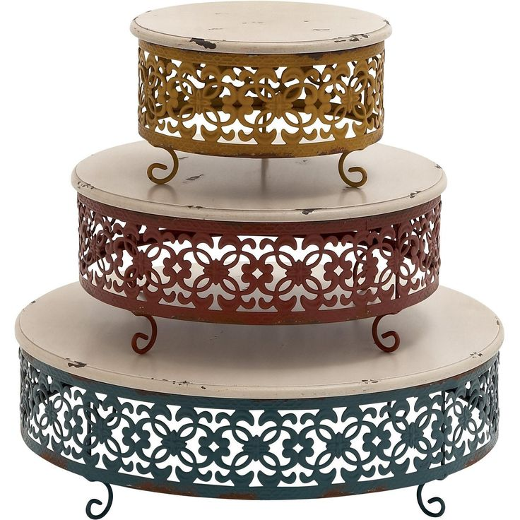 Simply Unique Wood Metal Cake Stand, Set Of 3
