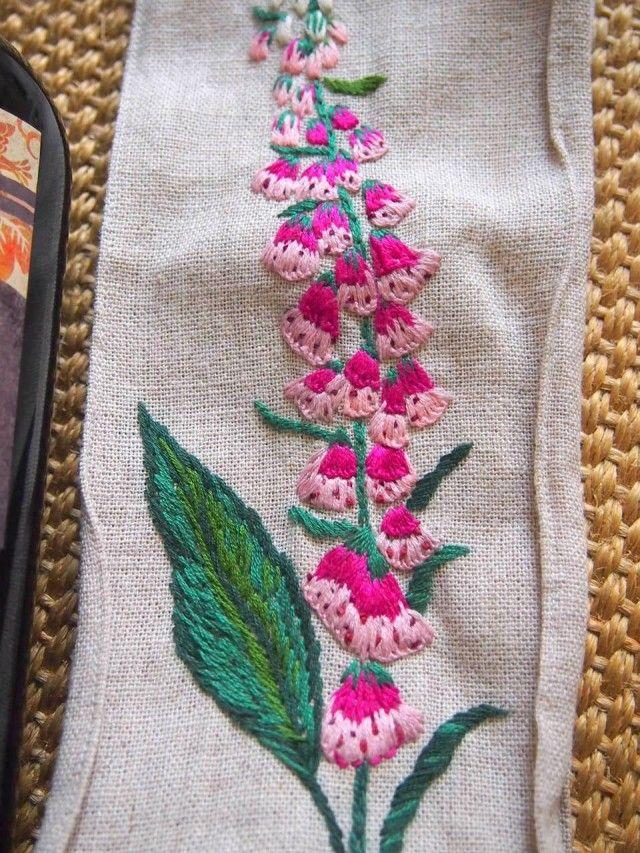 フォックスグローブの花の刺繍のワインバッグ   HandMade in Japan 手仕事の新しいマーケットプレイス iichi