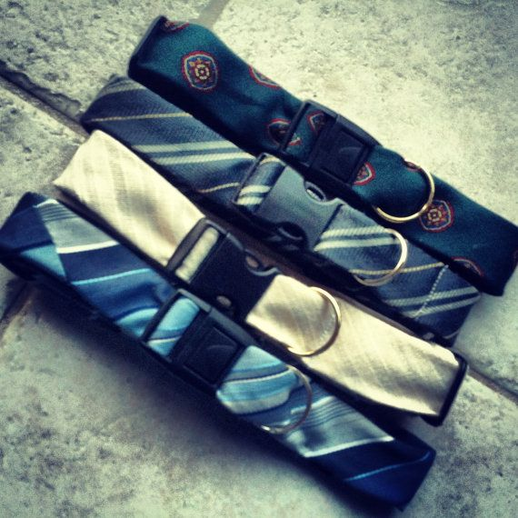 Dog Pet Collar  -  made from upcycled ties