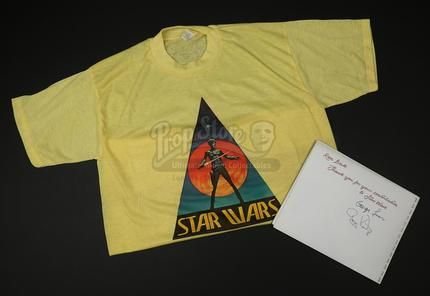 Lot 420 - Live Auction 2017 - George Lucas and Gary Kurtz Autographed Crew Book and Crew Shirt | Prop Store - Ultimate Movie Collectables