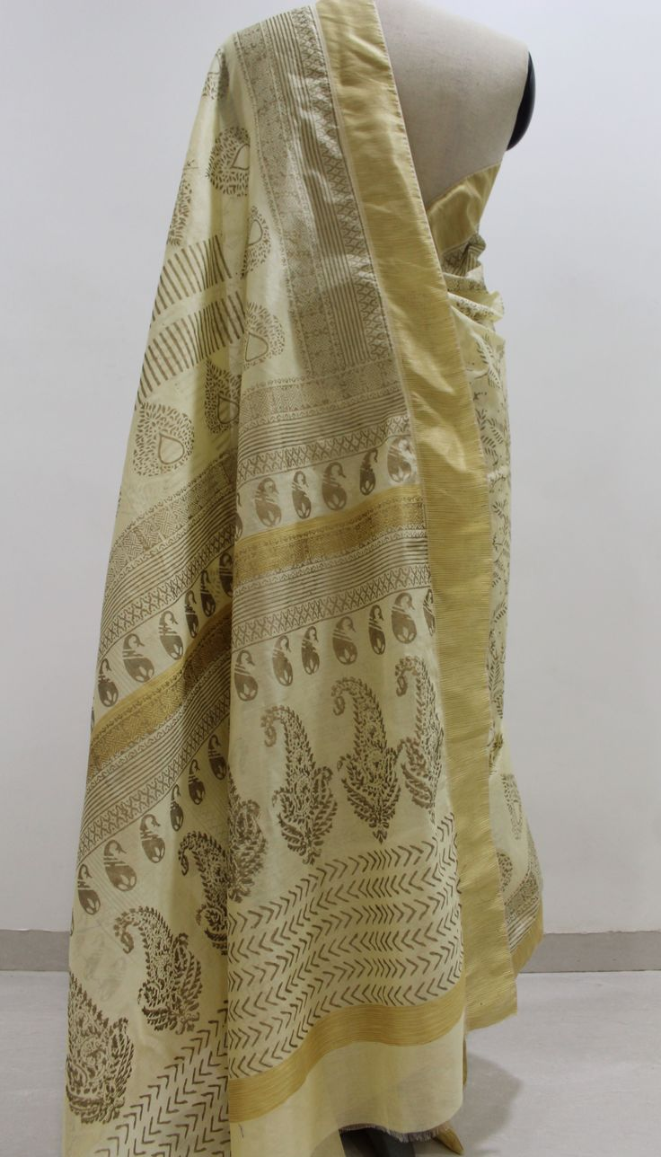 Cream and Gold Hand Block Printed Chanderi Saree..To Buy this beautiful saree drop a message