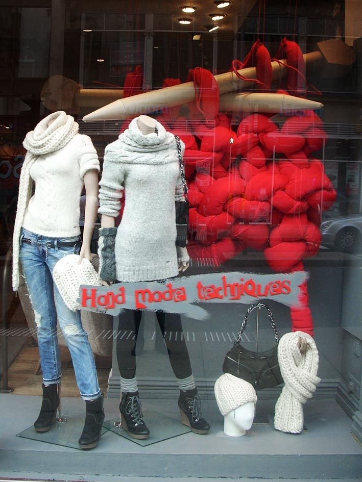 DIESEL Nationwide, October 2010    Massive knitting + scissors wrapped in wool, cables and wire for all Diesel store windows nationwide, for 'Craft Rebel' window scheme.    sept 2010: Nationwide