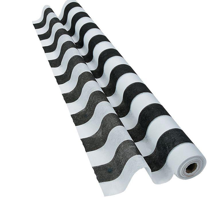 Black & White Striped Gossamer Roll - OrientalTrading.com - runner.